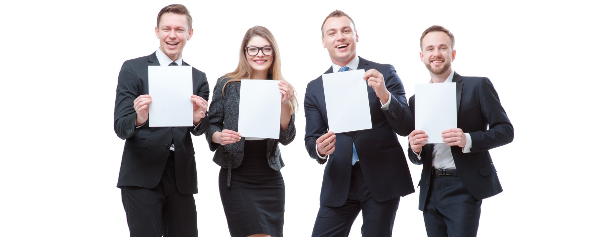 business people holding copier paper